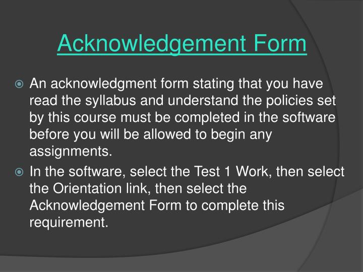 Acknowledgement Form
