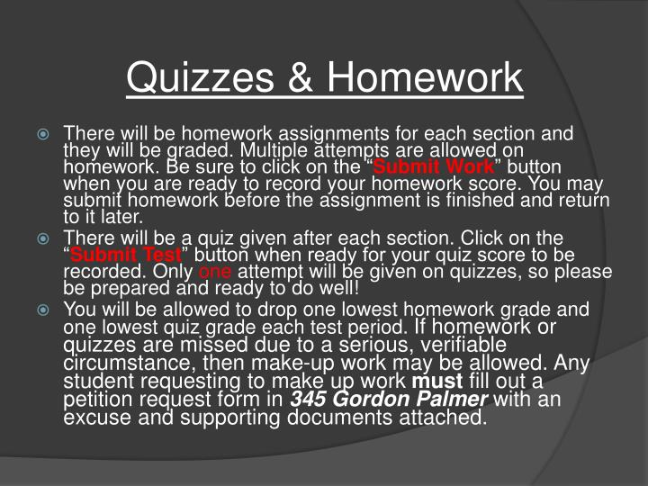 Quizzes & Homework
