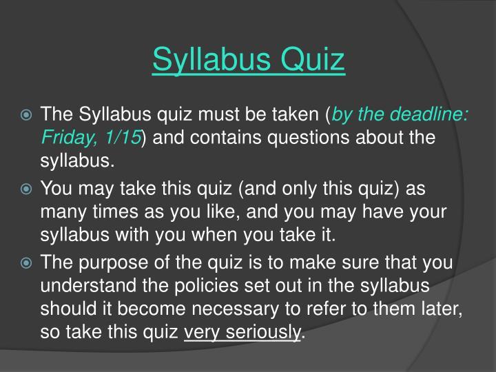 Syllabus Quiz