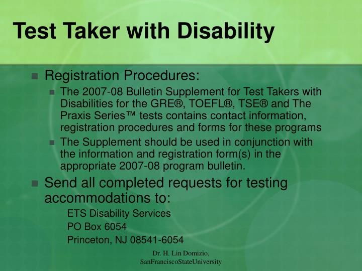 Test Taker with Disability