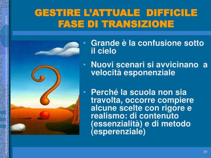GESTIRE L'ATTUALE  DIFFICILE FASE DI TRANSIZIONE
