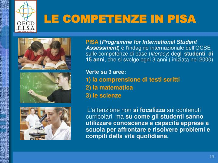LE COMPETENZE IN PISA