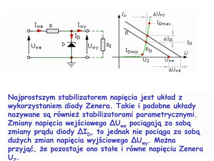 Najprostszym stabilizatorem napicia jest ukad z wykorzystaniem diody Zenera. Takie i podobne ukady nazywane s rwnie stabilizatorami parametrycznymi.