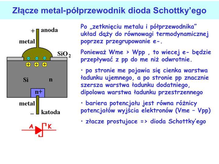 Zcze metal-pprzewodnik dioda Schottkyego