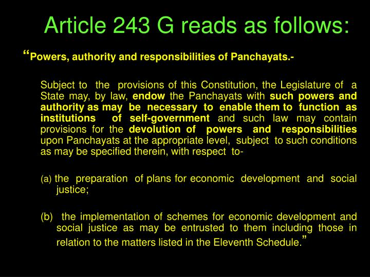 Article 243 G reads as follows: