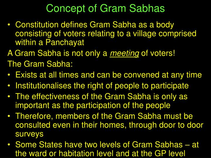 Concept of Gram Sabhas