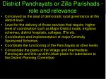 district panchayats or zilla parishads role and relevance