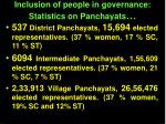 inclusion of people in governance statistics on panchayats