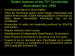 salient features of the 73 rd constitution amendment act 1993