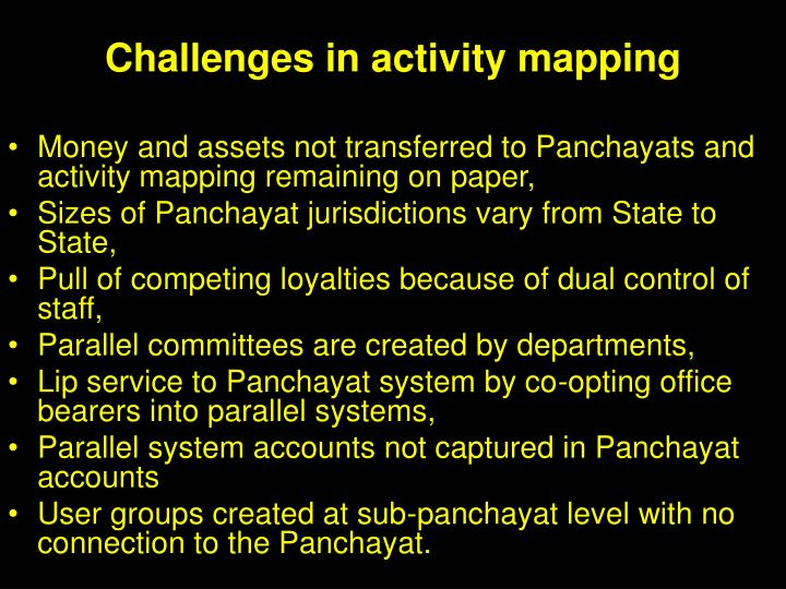 Challenges in activity mapping