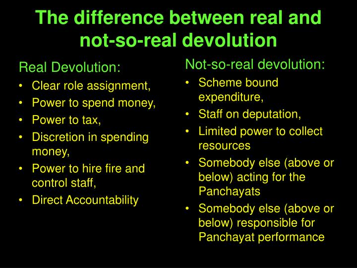 Real Devolution: