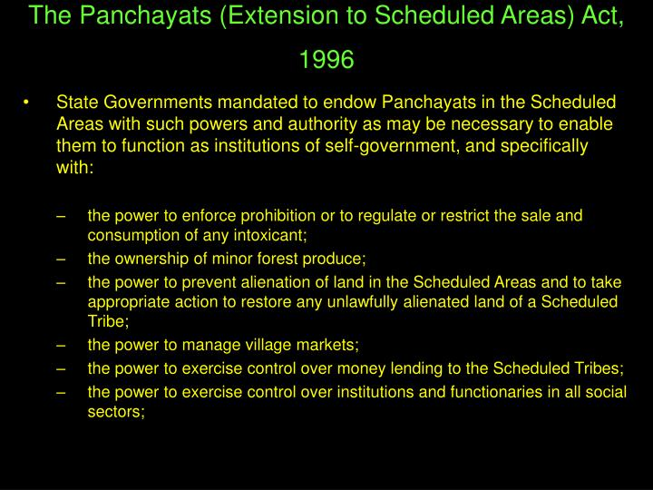 The Panchayats (Extension to Scheduled Areas) Act, 1996