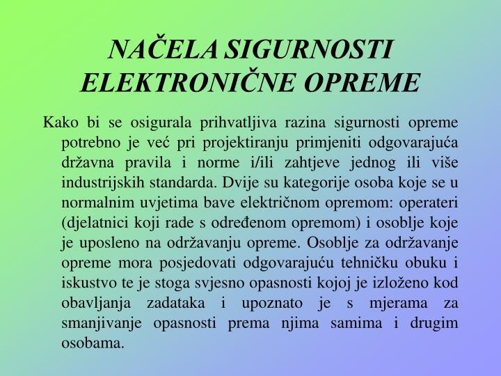 NAČELA SIGURNOSTI ELEKTRONIČNE OPREME