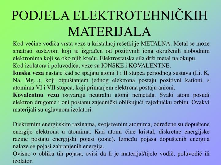 PODJELA ELEKTROTEHNIČKIH MATERIJALA