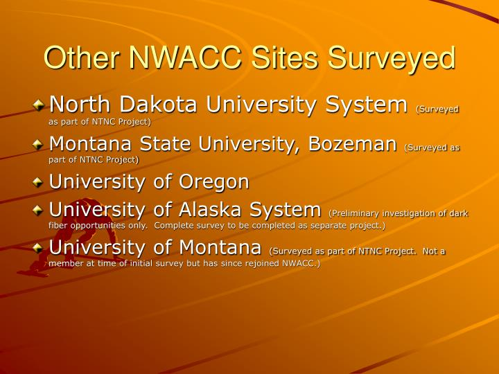 Other NWACC Sites Surveyed