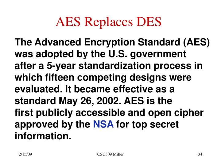 AES Replaces DES