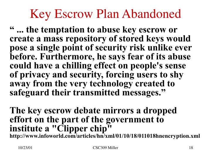 Key Escrow Plan Abandoned