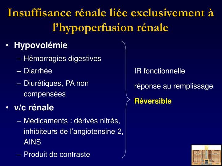 Insuffisance rénale liée exclusivement à l'hypoperfusion rénale