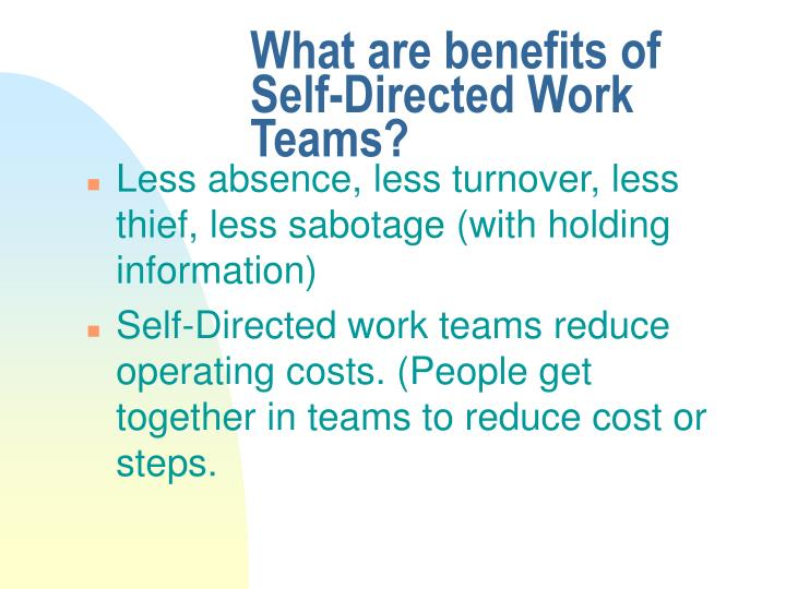 "self directed work teams at bhi Free essay: ""critically examine the effectiveness of self-directed work teams"" self-managed work teams can be defined as a small number of employees with."