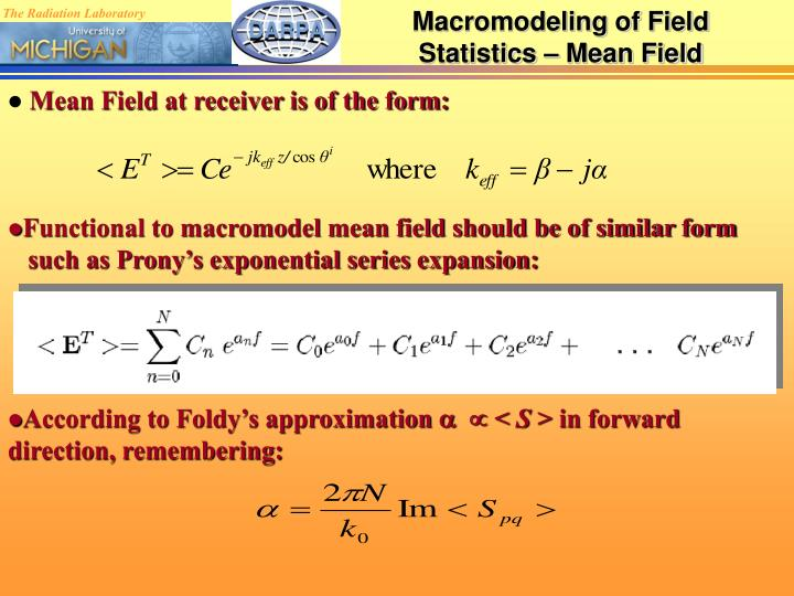 Macromodeling of Field Statistics – Mean Field