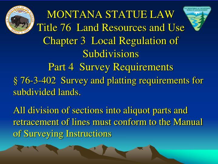MONTANA STATUE LAW