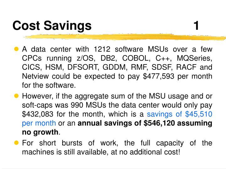 Cost Savings1