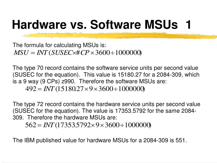 Hardware vs. Software MSUs	1