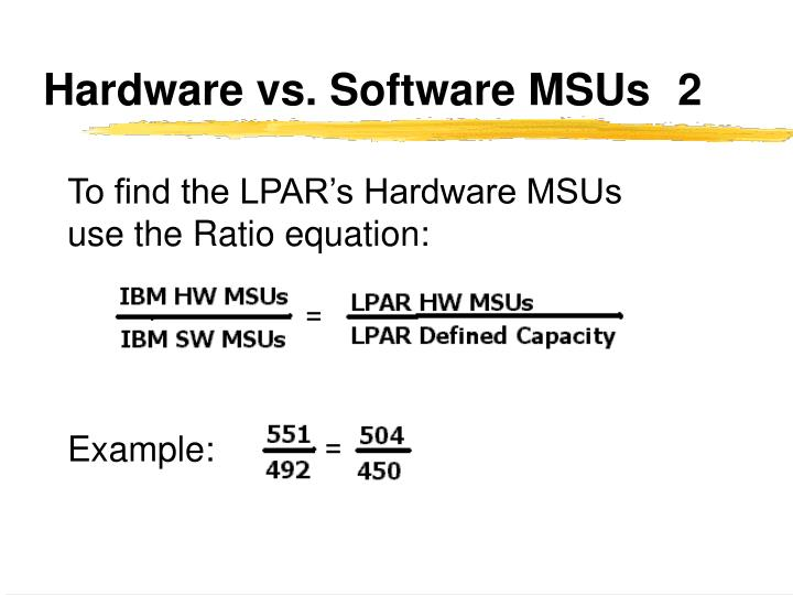 Hardware vs. Software MSUs	2