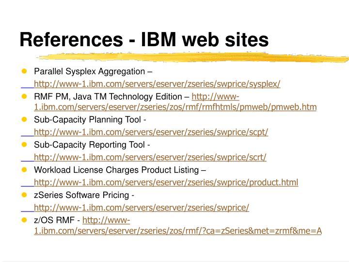 References - IBM web sites