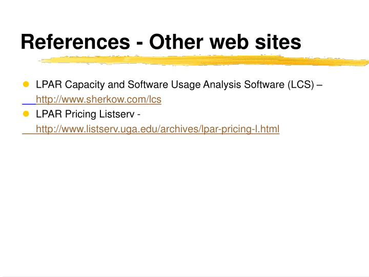 References - Other web sites