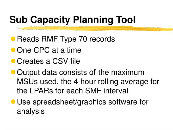 Sub Capacity Planning Tool