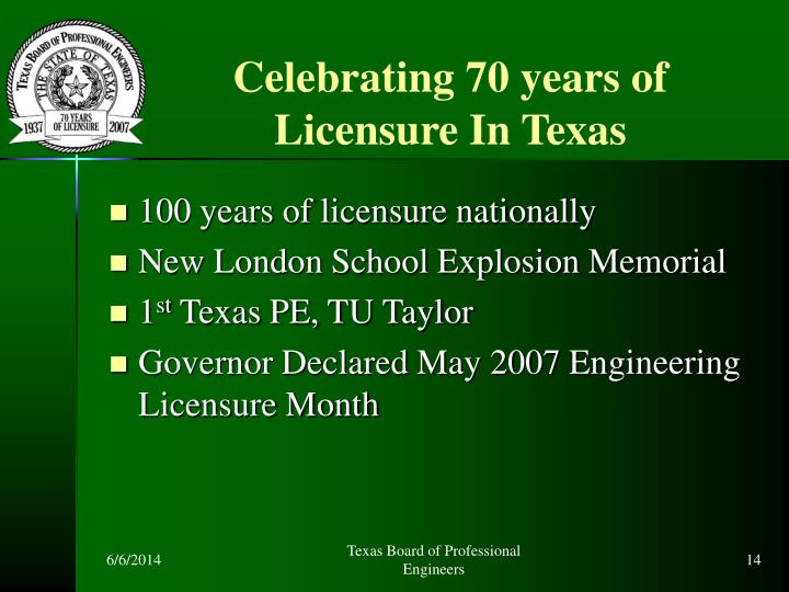 Celebrating 70 years of Licensure In Texas