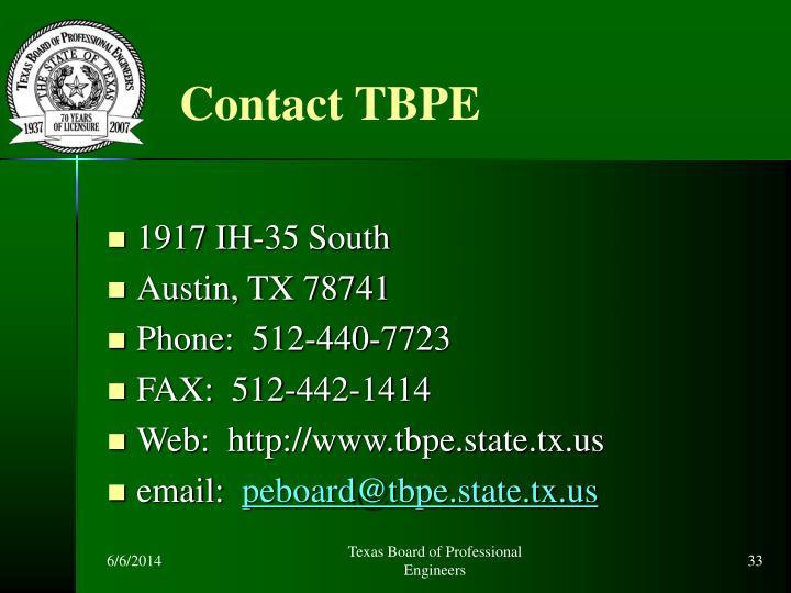 Contact TBPE