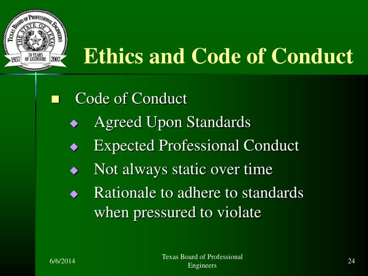 Ethics and Code of Conduct