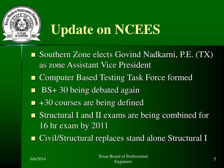 Update on NCEES