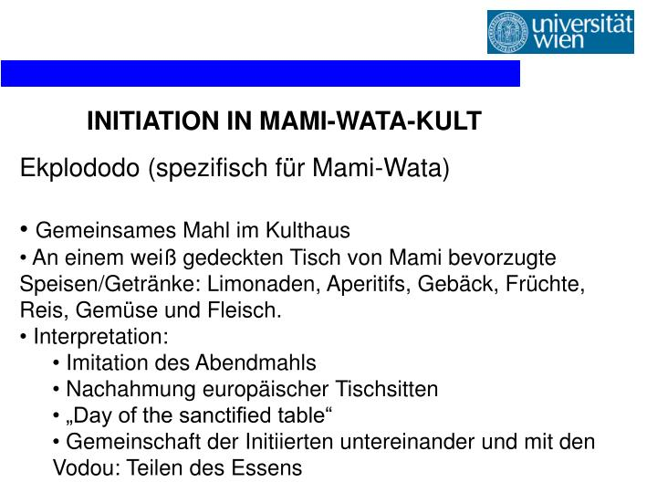 INITIATION IN MAMI-WATA-KULT