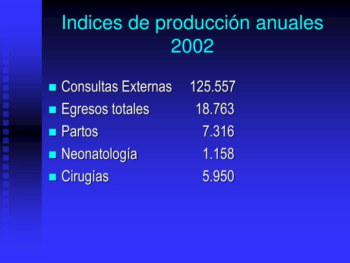 Indices de produccin anuales 2002