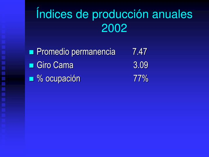 ndices de produccin anuales 2002