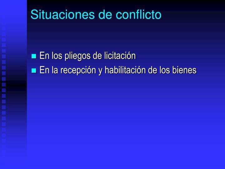 Situaciones de conflicto