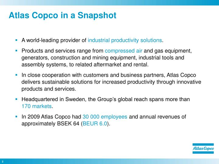 Atlas copco in a snapshot