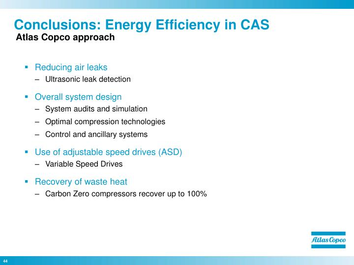 Conclusions: Energy Efficiency in CAS