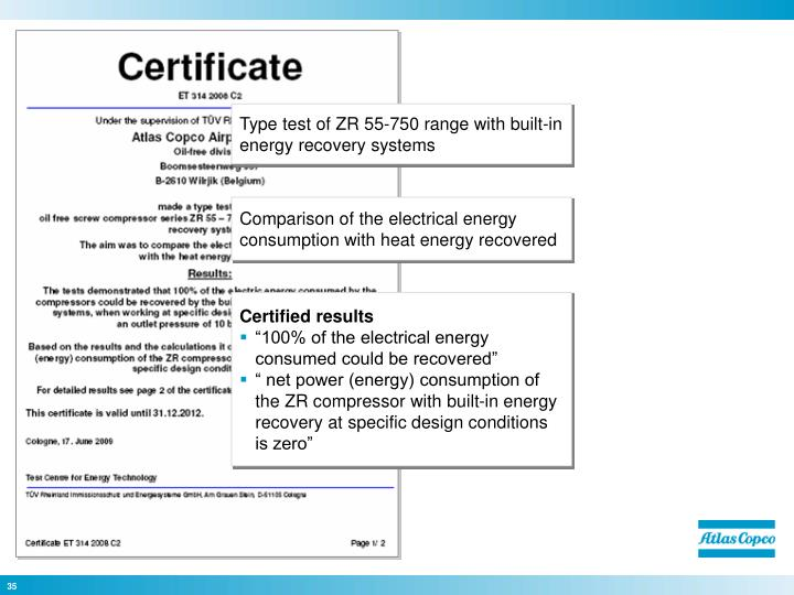 Type test of ZR 55-750 range with built-in energy recovery systems