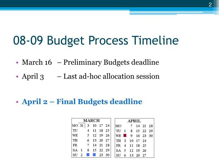 08-09 Budget Process Timeline