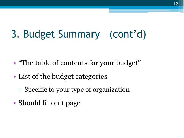 3. Budget Summary   (cont'd)