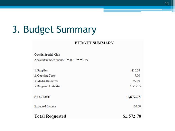 3. Budget Summary