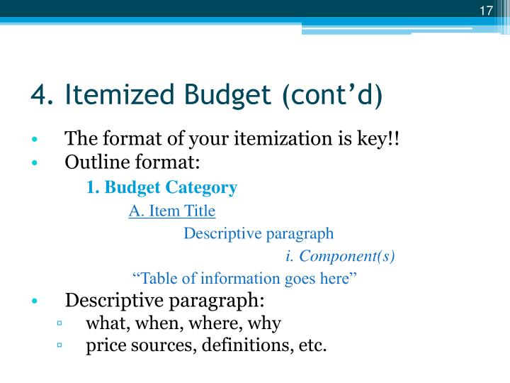 4. Itemized Budget (cont'd)