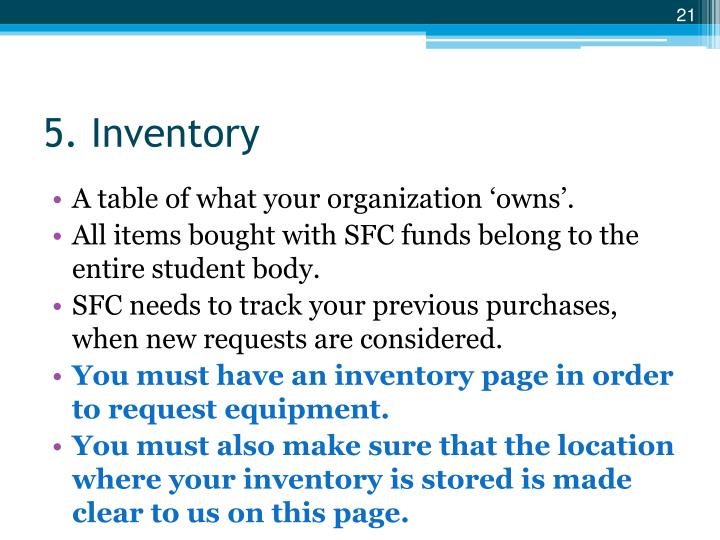 5. Inventory