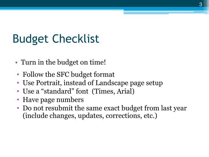 Budget Checklist