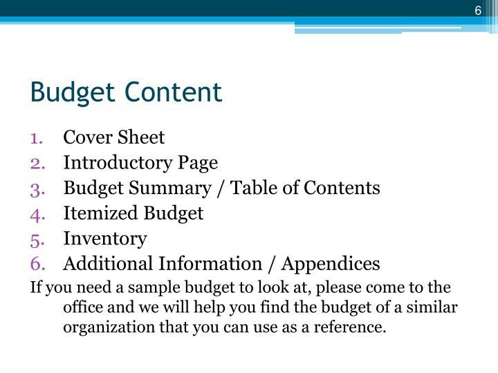 Budget Content