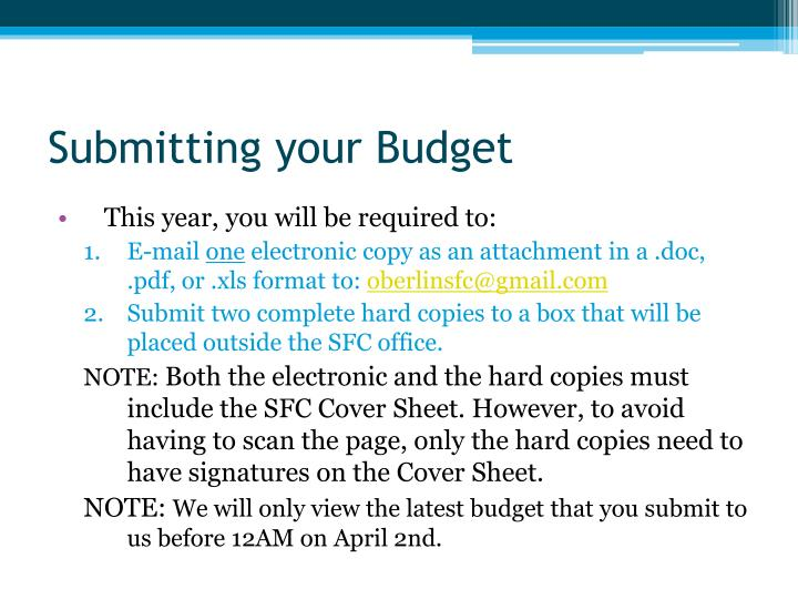 Submitting your Budget